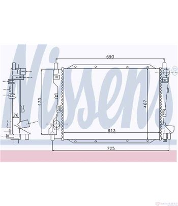 РАДИАТОР ВОДЕН JAGUAR S-TYPE (1999-) 3.0 V6 - NISSENS